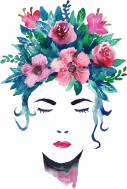 woman portrait drawing flowers hairstyle retro handdrawn