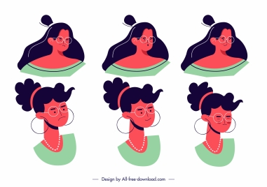 women avatar icons emotional sketch classic design