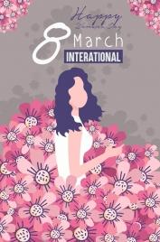 women day banner flowers decor classical design