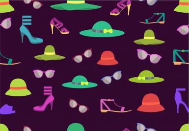women fashion design elements various colored utensils decoration