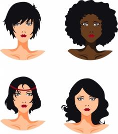 women hairstyle template modern style portrait icons