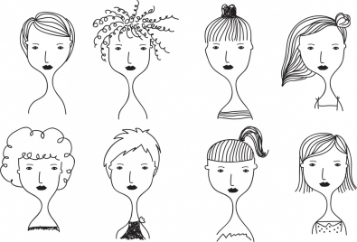 women hairstyle templates black white handdrawn sketch