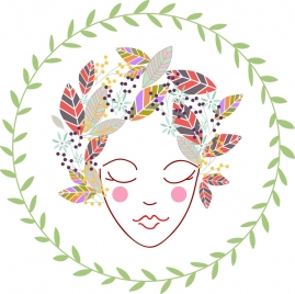 women portrait sketch design with decorative leaves