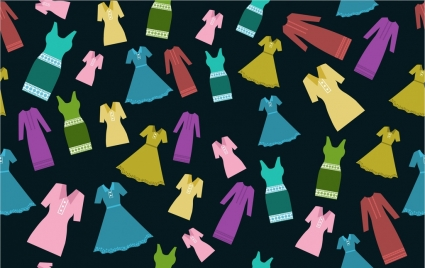 womens dress icons various flat colored design
