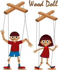 wood doll icons cute boy girl cartoon characters