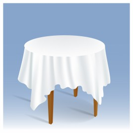 Wood Round Table with Tablecloth