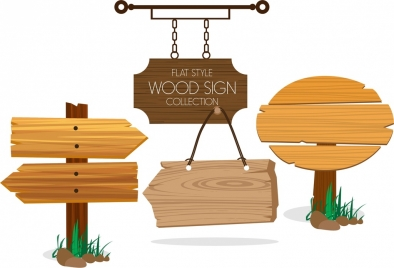 wood sign collection various flat shapes