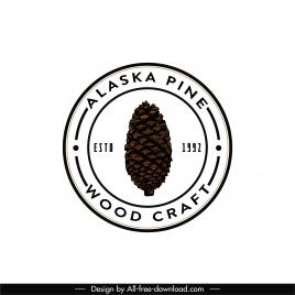 woodcraft logo template classic flat circle design