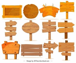 wooden signboard templates elegant retro shapes