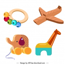 wooden toys icons cute colorful 3d sketch