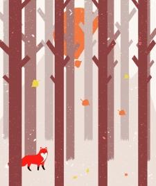woodland drawing leafless trees fox icons cartoon design