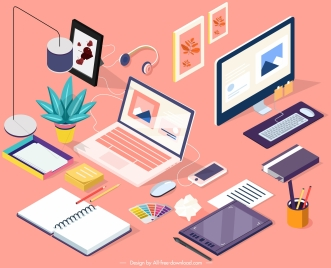 work desk icons colorful design 3d sketch