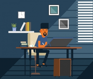 work place drawing man interior icons cartoon design
