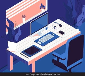 work place painting colored contrast design 3d sketch