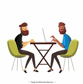 working icons modern man sketch cartoon design