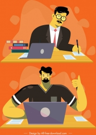 working man icons colored cartoon characters sketch