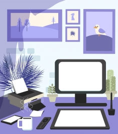 workplace background desk device icons violet decor