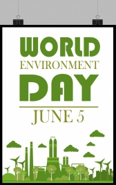 world day banner green decor windmill factory icons