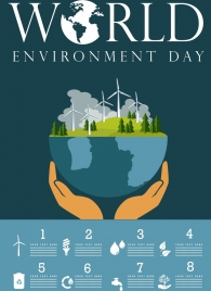 world day infographic banner hand holding planet icon