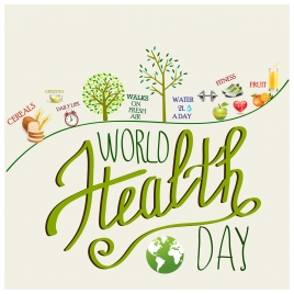 world heath day banner design with realistic icons