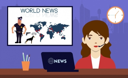 world news background reporter icon colored cartoon design