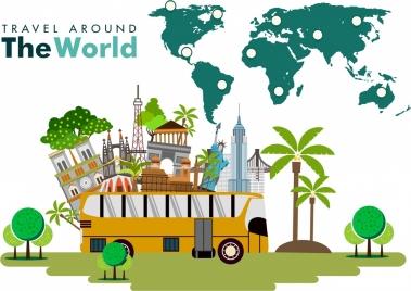 world travel banner sceneries symbols and map design