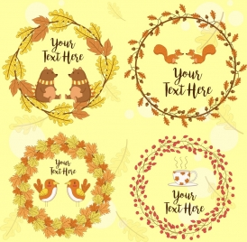 wreath icons leaves animals cup decoration