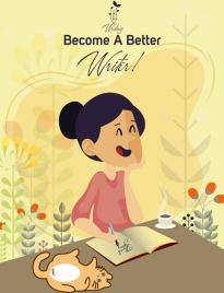 writing advertisement colored cartoon design woman icon
