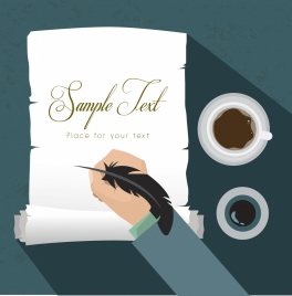 writing background retro paper feather pen hand icons