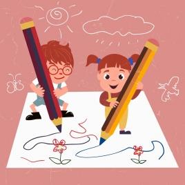 writing drawing cute kids pencils handdrawn lines sketch