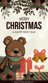 xmas banner template retro design teddy bear decor