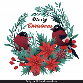 xmas design element birds leaves flora pine sketch