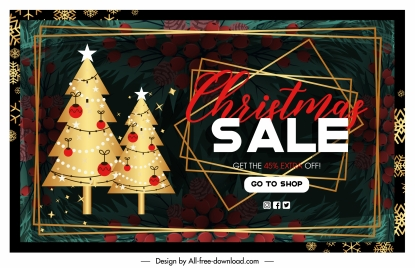 xmas sale banner fir trees blurred pine elements decor