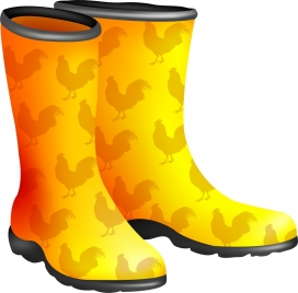 yellow boots icon vignette repeating cock pattern decoration