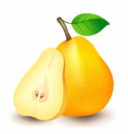 Yellow pear with green leaf