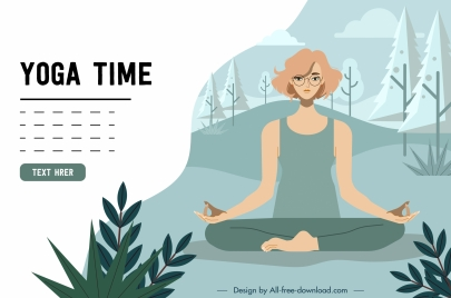 yoga advertising banner zen woman icon cartoon sketch