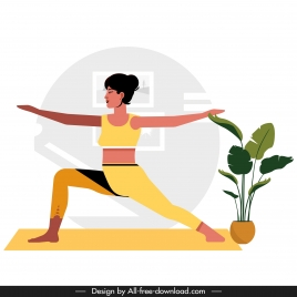 yoga background woman doing exercise sketch cartoon character