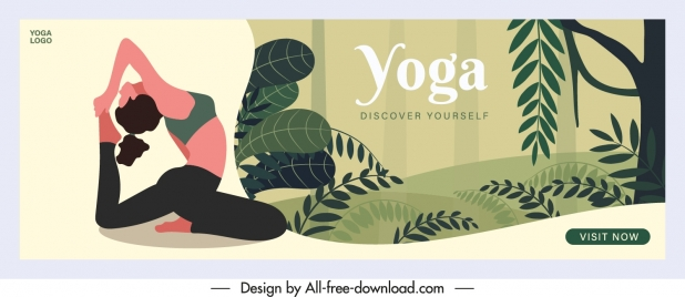yoga banner stretching woman sketch nature scene decor