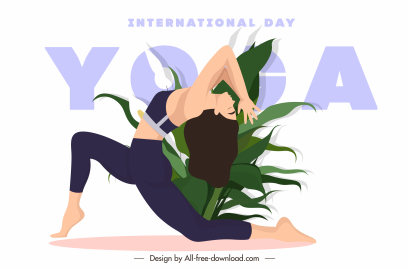 yoga banner template stretching lady leaves sketch