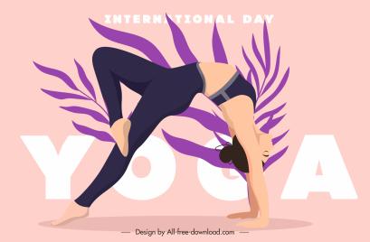 yoga day banner stretching woman leaf sketch