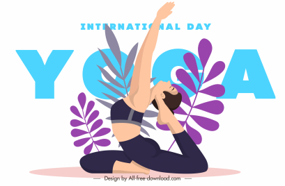 yoga day poster exercising lady sketch leaves decor