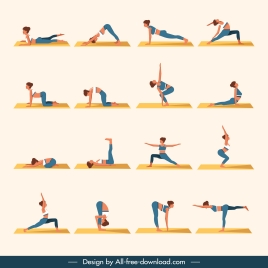 yoga icons women exercising gestures sketch