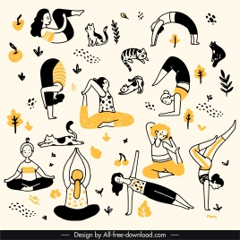 yoga pattern exercising gestures handdrawn retro