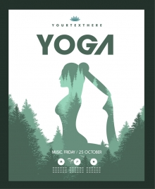 yoga poster exercising woman tree decoration silhouette style