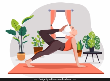 yoga practice painting stretching woman cartoon sketch