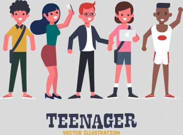 young people background cartoon characters