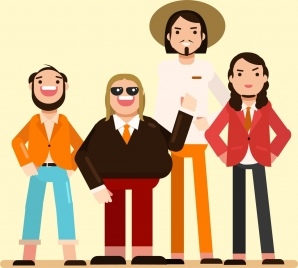 young people icons colored cartoon characters