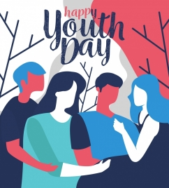youth day banner young people icons classical sketch