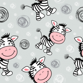 zebra background cute cartoon icons repeating design