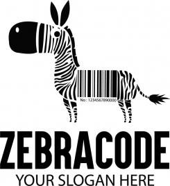 zebra code banner funny design black white flat